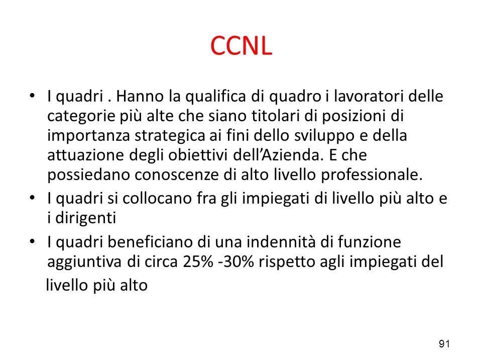 91 CCNL I quadri. Hanno la qualifica di quadro i lavoratori delle categorie più alte che siano titolari di posizioni di importanza strategica ai fini