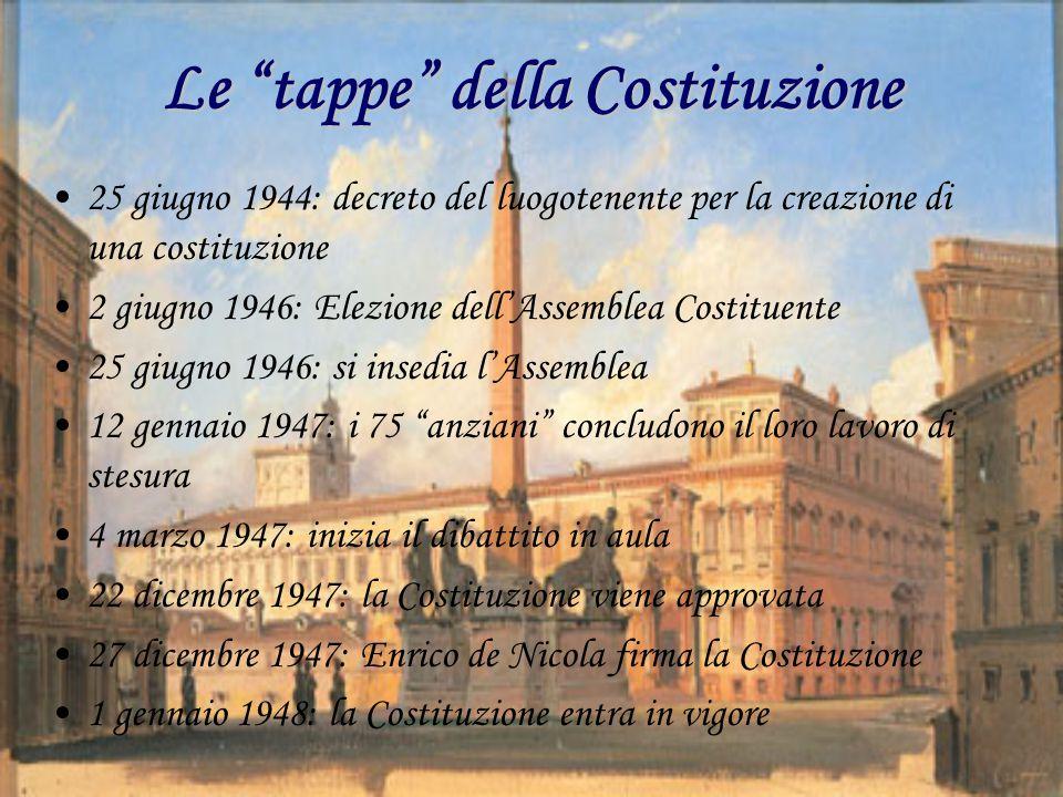 """Le """"tappe"""" della Costituzione 25 giugno 1944: decreto del luogotenente per la creazione di una costituzione 2 giugno 1946: Elezione dell'Assemblea Cos"""