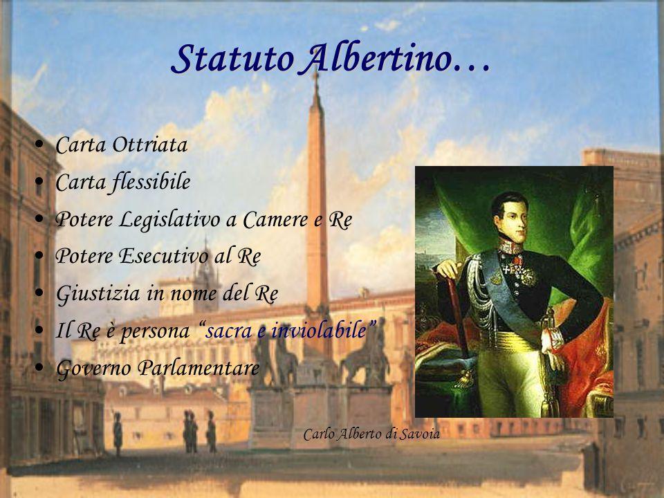 Statuto Albertino… Carta Ottriata Carta flessibile Potere Legislativo a Camere e Re Potere Esecutivo al Re Giustizia in nome del Re Il Re è persona sacra e inviolabile Governo Parlamentare Carlo Alberto di Savoia