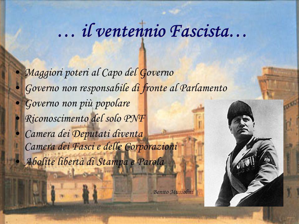 … il ventennio Fascista… Maggiori poteri al Capo del Governo Governo non responsabile di fronte al Parlamento Governo non più popolare Riconoscimento