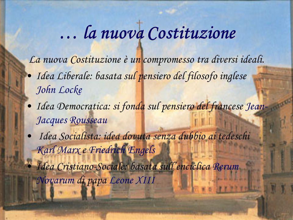 … la nuova Costituzione La nuova Costituzione è un compromesso tra diversi ideali. Idea Liberale: basata sul pensiero del filosofo inglese John Locke