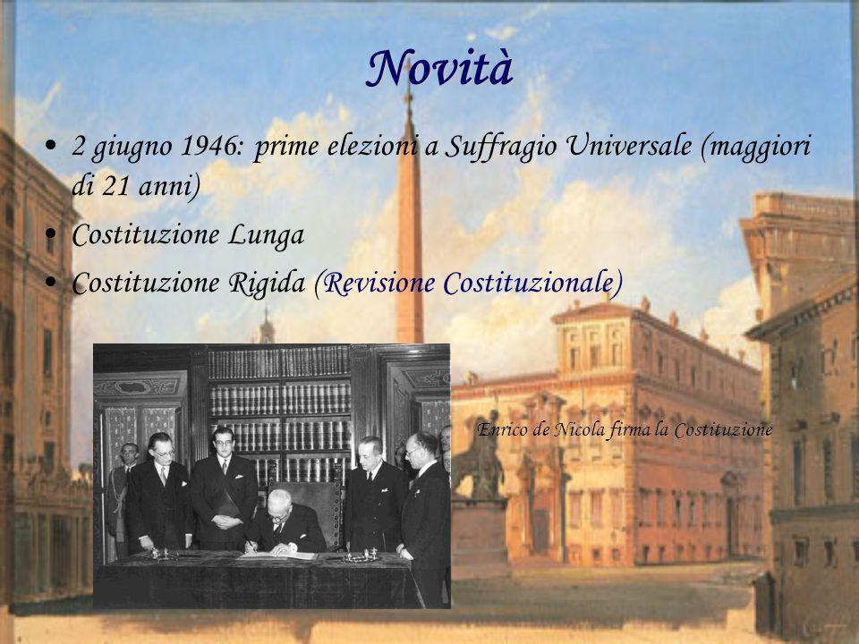 Novità 2 giugno 1946: prime elezioni a Suffragio Universale (maggiori di 21 anni) Costituzione Lunga Costituzione Rigida (Revisione Costituzionale) Enrico de Nicola firma la Costituzione