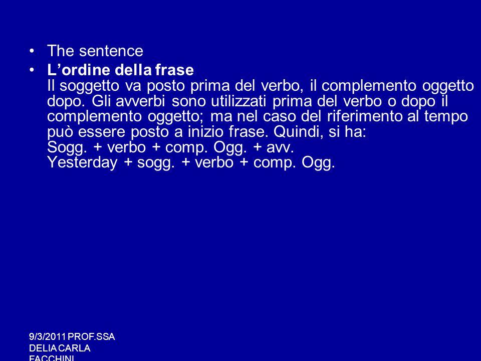 9/3/2011 PROF.SSA DELIA CARLA FACCHINI Pronomi relativi Who, which e that sono soggetti di una relative clause .