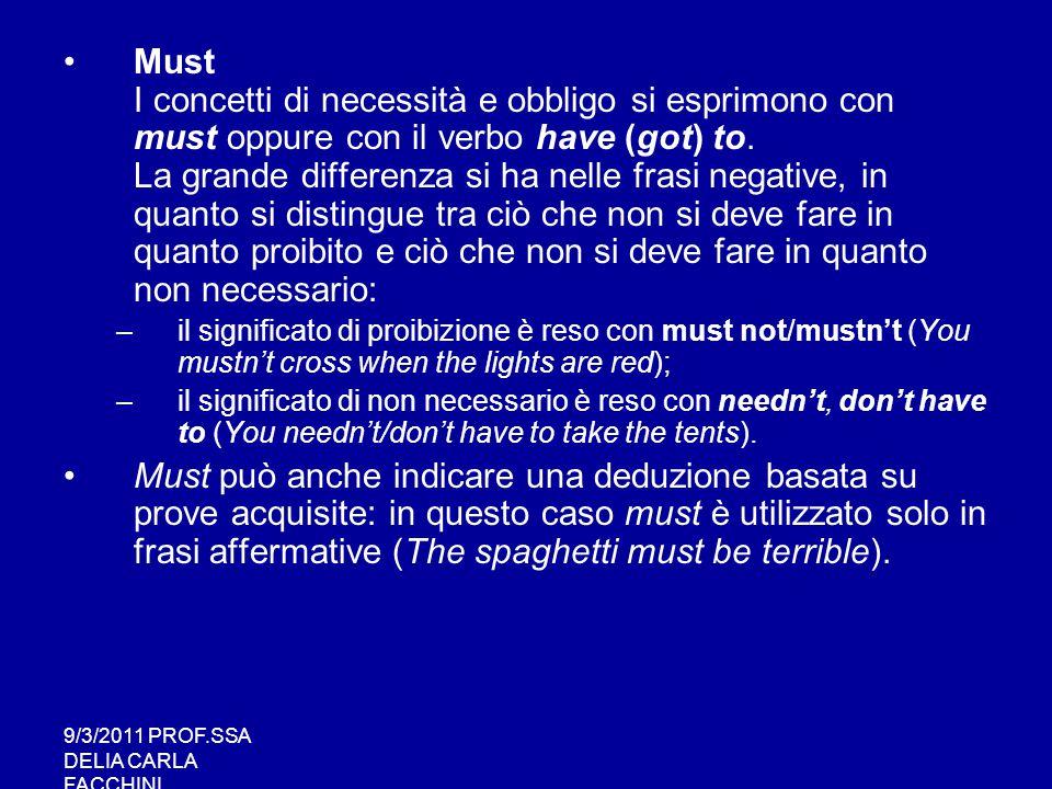 9/3/2011 PROF.SSA DELIA CARLA FACCHINI Should Ha il significato di dovere; si usa dove in italiano abbiamo di solito il condizionale.
