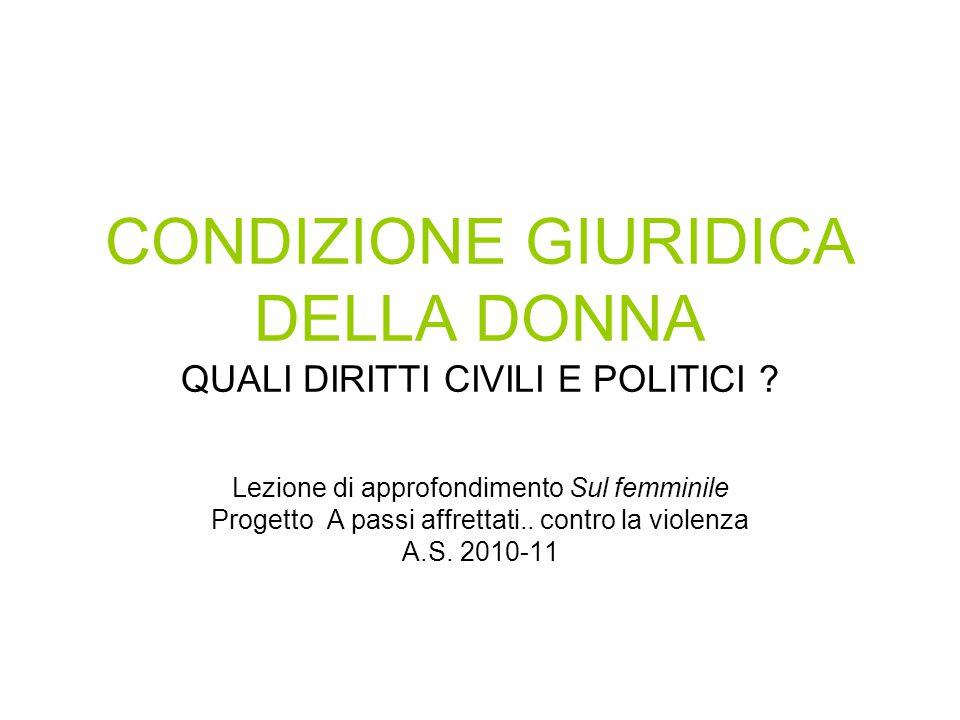 CONDIZIONE GIURIDICA DELLA DONNA QUALI DIRITTI CIVILI E POLITICI ? Lezione di approfondimento Sul femminile Progetto A passi affrettati.. contro la vi