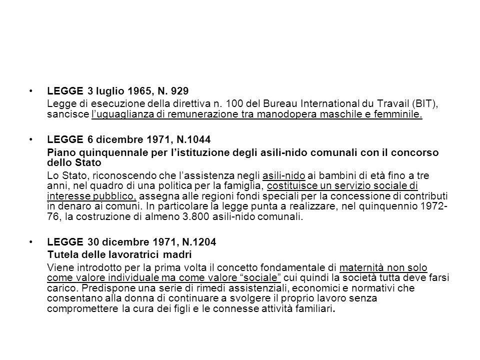 LEGGE 3 luglio 1965, N. 929 Legge di esecuzione della direttiva n. 100 del Bureau International du Travail (BIT), sancisce l'uguaglianza di remunerazi