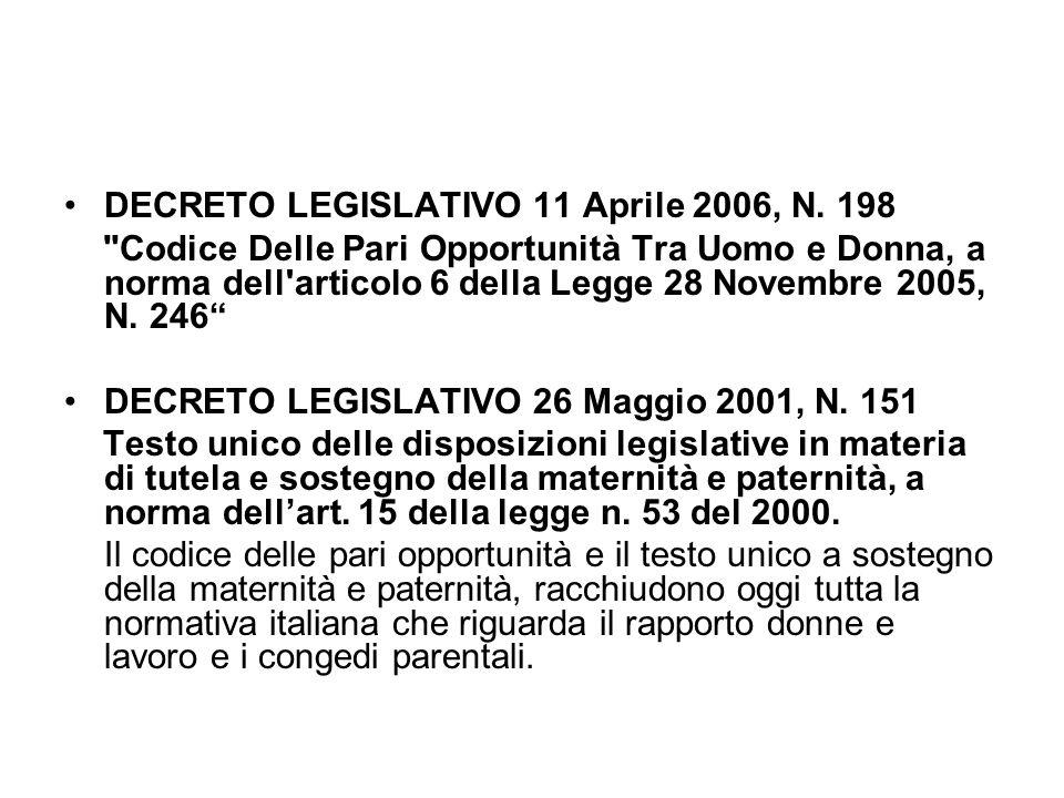 DECRETO LEGISLATIVO 11 Aprile 2006, N. 198