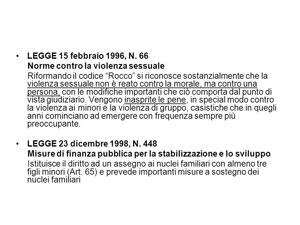 """LEGGE 15 febbraio 1996, N. 66 Norme contro la violenza sessuale Riformando il codice """"Rocco"""" si riconosce sostanzialmente che la violenza sessuale non"""