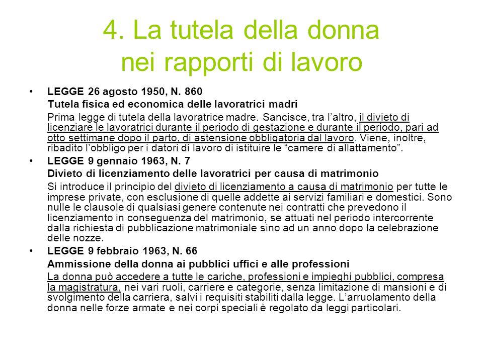 4. La tutela della donna nei rapporti di lavoro LEGGE 26 agosto 1950, N. 860 Tutela fisica ed economica delle lavoratrici madri Prima legge di tutela