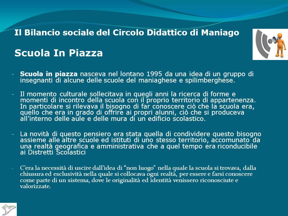 Il Bilancio sociale del Circolo Didattico di Maniago Scuola In Piazza - Scuola in piazza nasceva nel lontano 1995 da una idea di un gruppo di insegnanti di alcune delle scuole del maniaghese e spilimberghese.