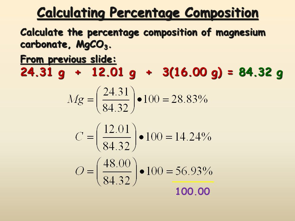 Calculating Percentage Composition Calculate the percentage composition of magnesium carbonate, MgCO 3.