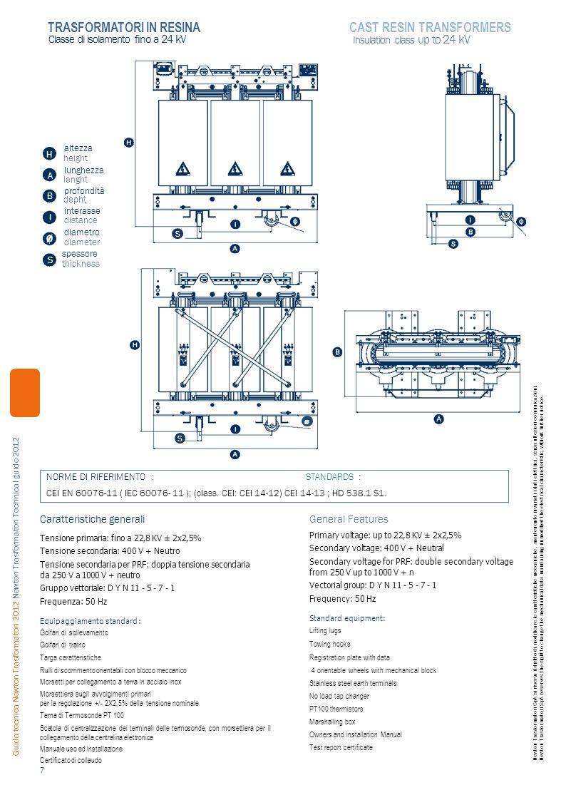 altezza height lunghezza lenght profondità depht interasse distance diametro diameter spessore thickness Caratteristiche generali Tensione primaria: fino a 22,8 KV ± 2x2,5% Tensione secondaria: 400 V + Neutro Tensione secondaria per PRF: doppia tensione secondaria da 250 V a 1000 V + neutro Gruppo vettoriale: D Y N 11 - 5 - 7 - 1 Frequenza: 50 Hz Equipaggiamento standard : Golfari di sollevamento Golfari di traino Targa caratteristiche Rulli di scorrimento orientabili con blocco meccanico Morsetti per collegamento a terra in acciaio inox Morsettiera sugli avvolgimenti primari per la regolazione +/- 2X2,5% della tensione nominale Terna di Termosonde PT 100 Scatola di centralizzazione dei terminali delle termosonde, con morsettiera per il collegamento della centralina elettronica Manuale uso ed installazione Certificato di collaudo General Features Primary voltage: up to 22,8 KV ± 2x2,5% Secondary voltage: 400 V + Neutral Secondary voltage for PRF: double secondary voltage from 250 V up to 1000 V + n Vectorial group: D Y N 11 - 5 - 7 - 1 Frequency: 50 Hz Standard equipment: Lifting lugs Towing hooks Registration plate with data 4 orientable wheels with mechanical block Stainless steel earth terminals No load tap changer PT100 thermistors Marshalling box Owners and installation Manual Test report certificate 7 Classe di isolamento fino a 24 kV Insulation class up to 24 kV TRASFORMATORI IN RESINACAST RESIN TRANSFORMERS S Ø A B H I Guida tecnica Newton Trasformatori 2012 Newton Trasformatori Technical guide 2012 Newton Trasformatori SpA si riserva il diritto di modificare le caratteristiche meccaniche, mantenendo invariati i dati elettrici, senza ulteriori comunicazioni.