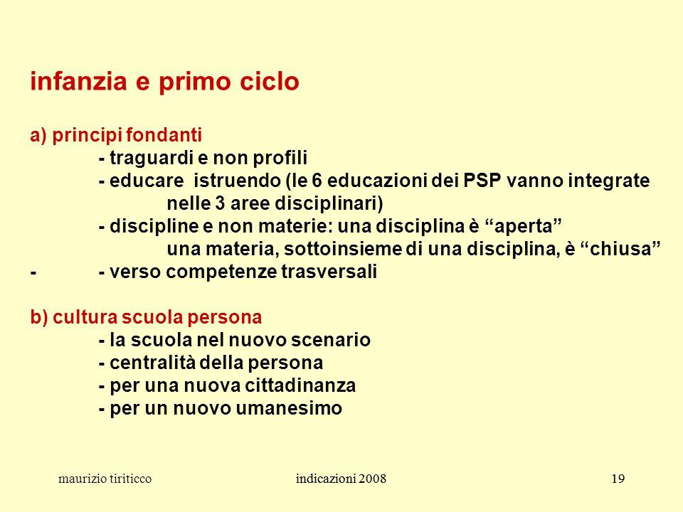 indicazioni 200819maurizio tiriticcoindicazioni 200819 infanzia e primo ciclo a) principi fondanti - traguardi e non profili - educare istruendo (le 6