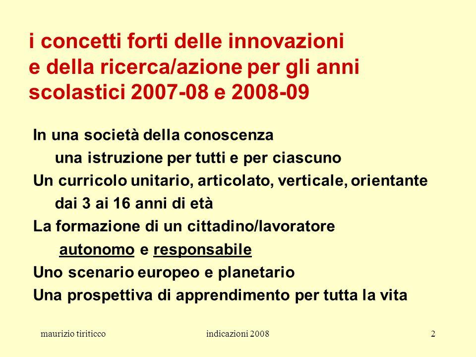 maurizio tiriticcoindicazioni 20082 i concetti forti delle innovazioni e della ricerca/azione per gli anni scolastici 2007-08 e 2008-09 In una società