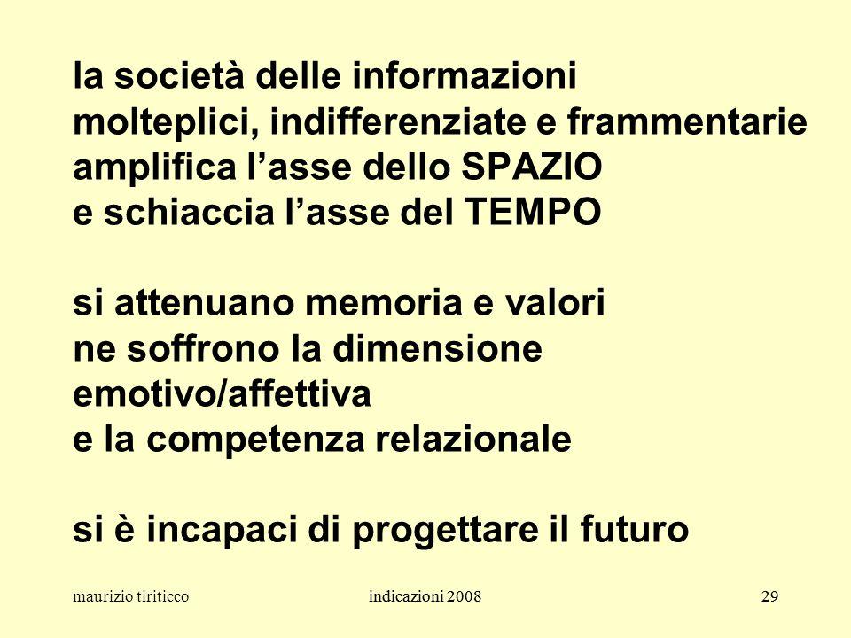 indicazioni 200829maurizio tiriticcoindicazioni 200829 la società delle informazioni molteplici, indifferenziate e frammentarie amplifica l'asse dello