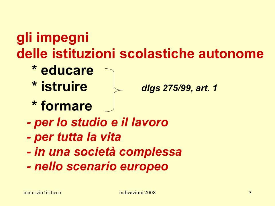 indicazioni 20083maurizio tiriticcoindicazioni 20083 gli impegni delle istituzioni scolastiche autonome * educare * istruire dlgs 275/99, art. 1 * for