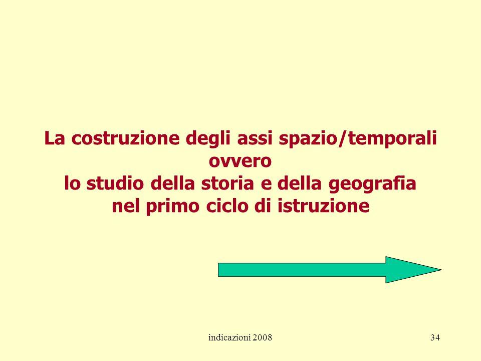 indicazioni 200834 La costruzione degli assi spazio/temporali ovvero lo studio della storia e della geografia nel primo ciclo di istruzione