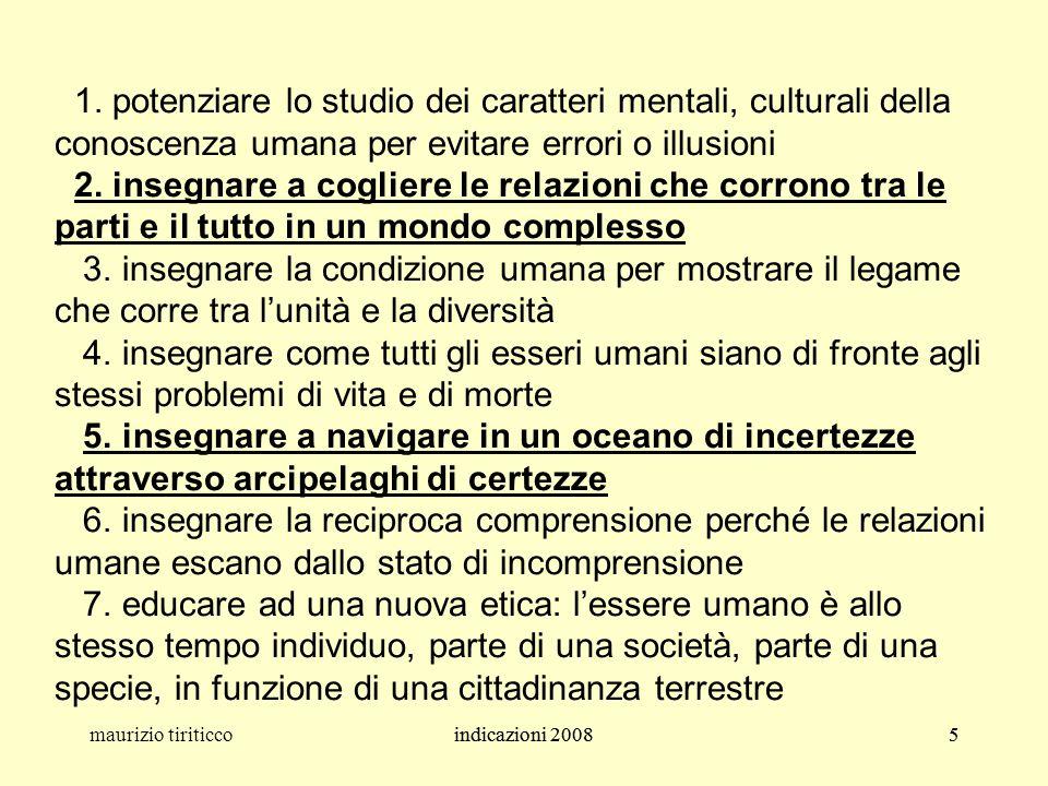 indicazioni 20085maurizio tiriticcoindicazioni 20085 1. potenziare lo studio dei caratteri mentali, culturali della conoscenza umana per evitare error