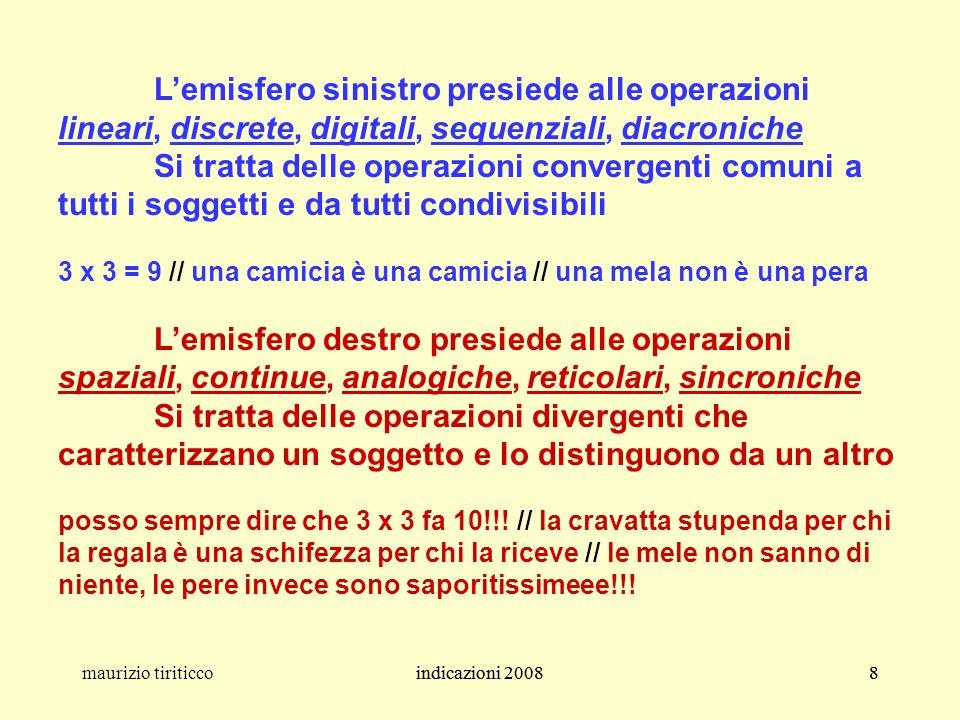 indicazioni 20088maurizio tiriticcoindicazioni 20088 L'emisfero sinistro presiede alle operazioni lineari, discrete, digitali, sequenziali, diacronich