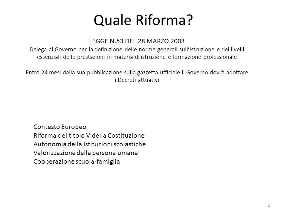Quale Riforma? LEGGE N.53 DEL 28 MARZO 2003 Delega al Governo per la definizione delle norme generali sull'istruzione e dei livelli essenziali delle p