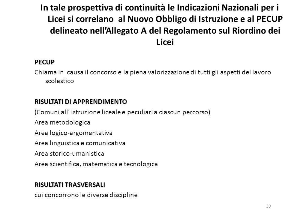 In tale prospettiva di continuità le Indicazioni Nazionali per i Licei si correlano al Nuovo Obbligo di Istruzione e al PECUP delineato nell'Allegato