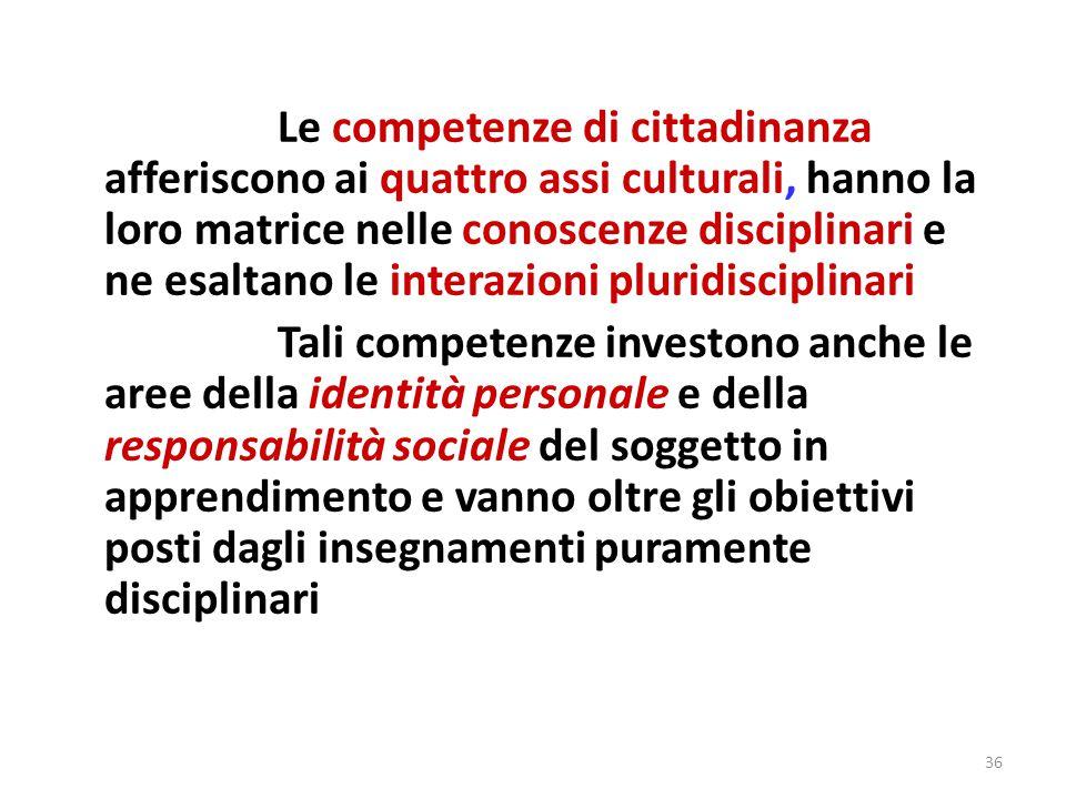 36 Le competenze di cittadinanza afferiscono ai quattro assi culturali, hanno la loro matrice nelle conoscenze disciplinari e ne esaltano le interazio