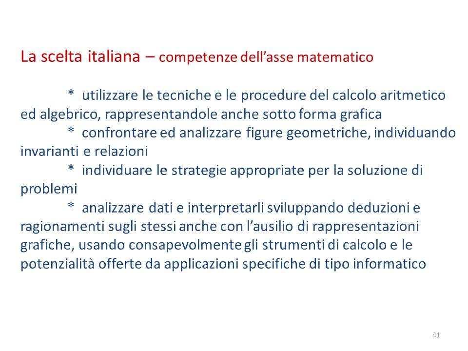 41 La scelta italiana – competenze dell'asse matematico * utilizzare le tecniche e le procedure del calcolo aritmetico ed algebrico, rappresentandole