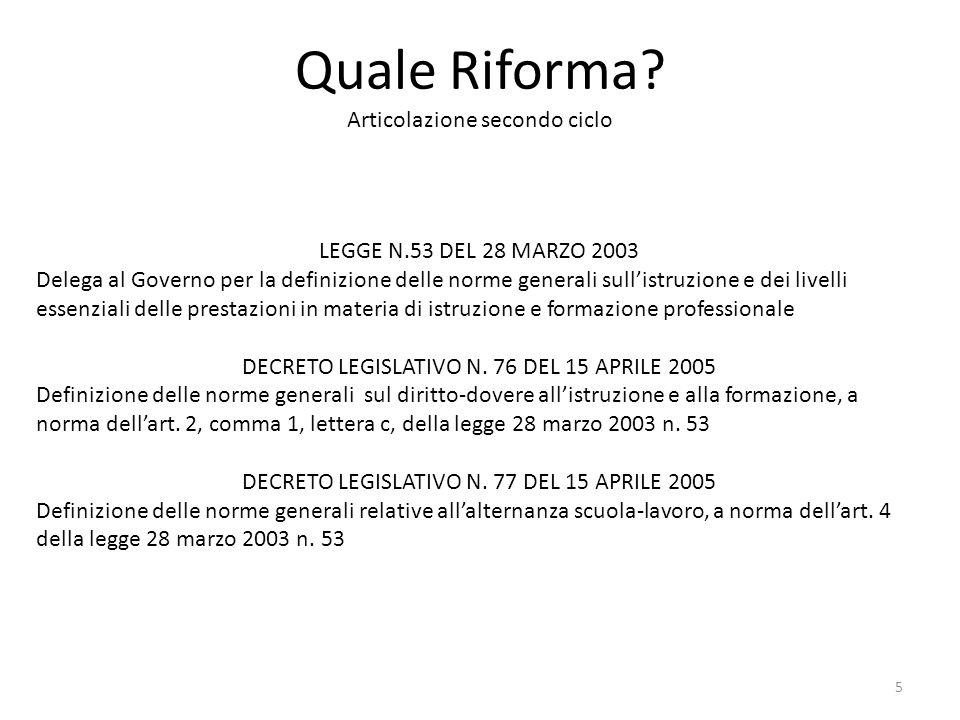 Quale Riforma? Articolazione secondo ciclo LEGGE N.53 DEL 28 MARZO 2003 Delega al Governo per la definizione delle norme generali sull'istruzione e de