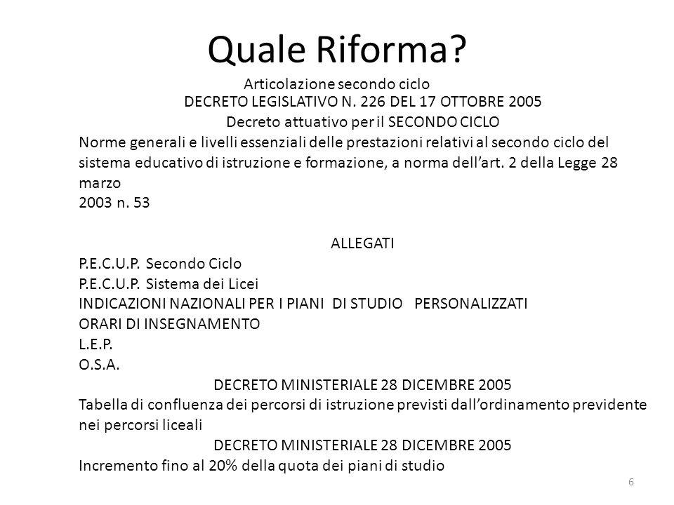 Quale Riforma? Articolazione secondo ciclo DECRETO LEGISLATIVO N. 226 DEL 17 OTTOBRE 2005 Decreto attuativo per il SECONDO CICLO Norme generali e live