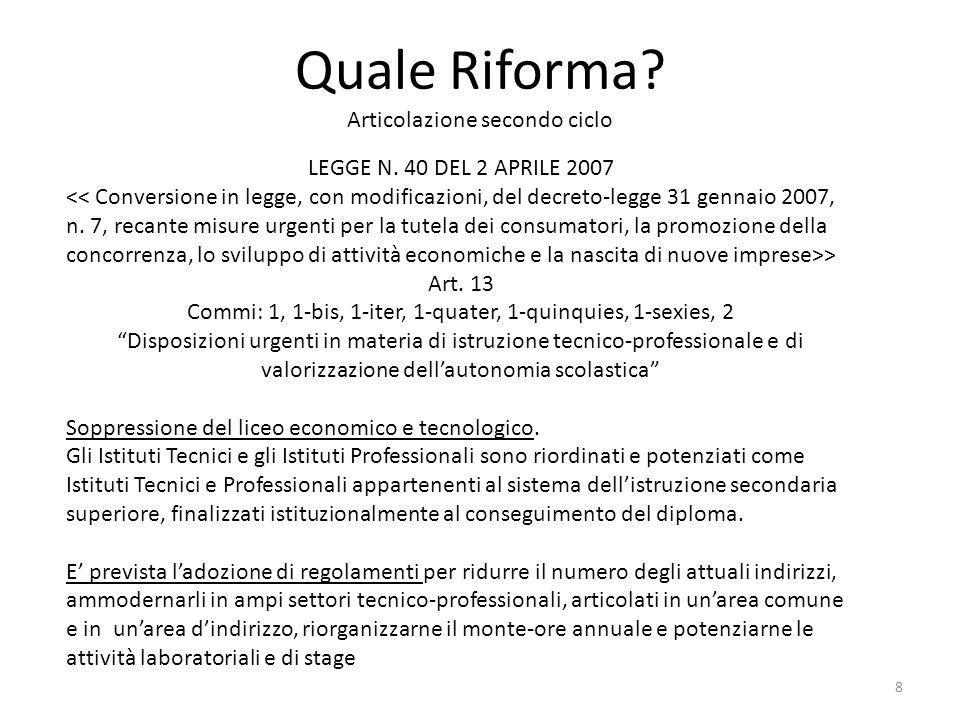 """Quale Riforma? Articolazione secondo ciclo LEGGE N. 40 DEL 2 APRILE 2007 > Art. 13 Commi: 1, 1-bis, 1-iter, 1-quater, 1-quinquies, 1-sexies, 2 """"Dispos"""