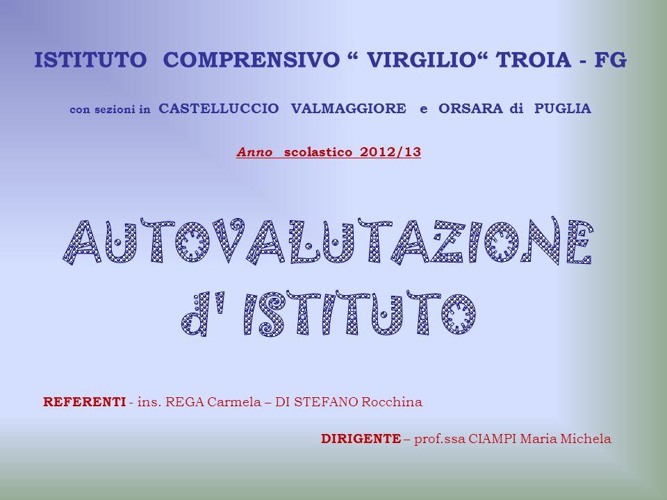 """ISTITUTO COMPRENSIVO """" VIRGILIO"""" TROIA - FG con sezioni in CASTELLUCCIO VALMAGGIORE e ORSARA di PUGLIA REFERENTI - ins. REGA Carmela – DI STEFANO Rocc"""