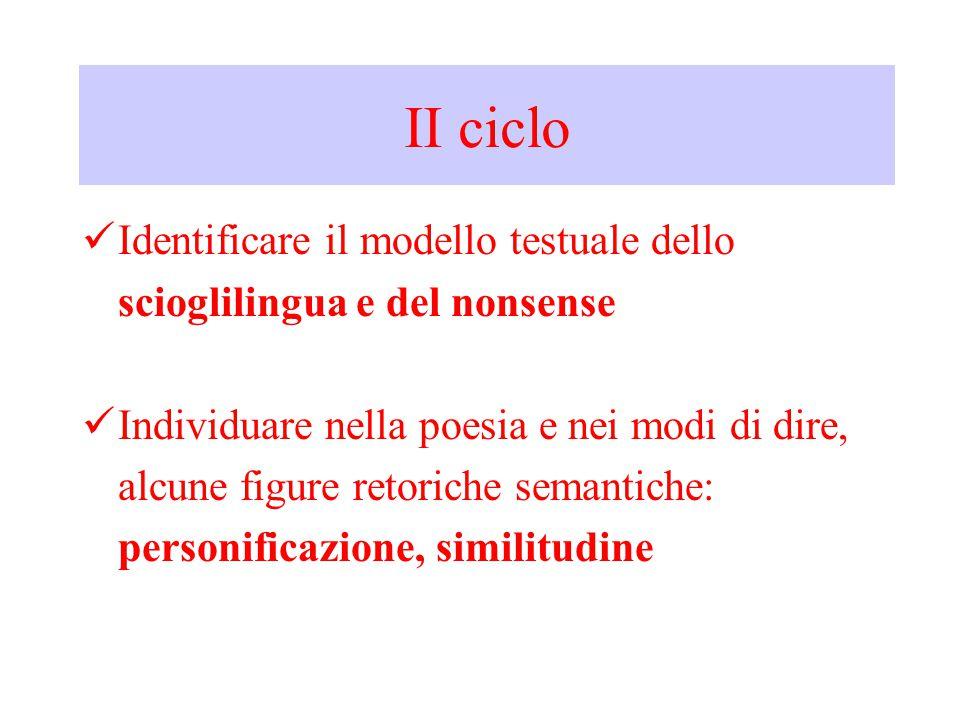 II ciclo Identificare il modello testuale dello scioglilingua e del nonsense Individuare nella poesia e nei modi di dire, alcune figure retoriche semantiche: personificazione, similitudine