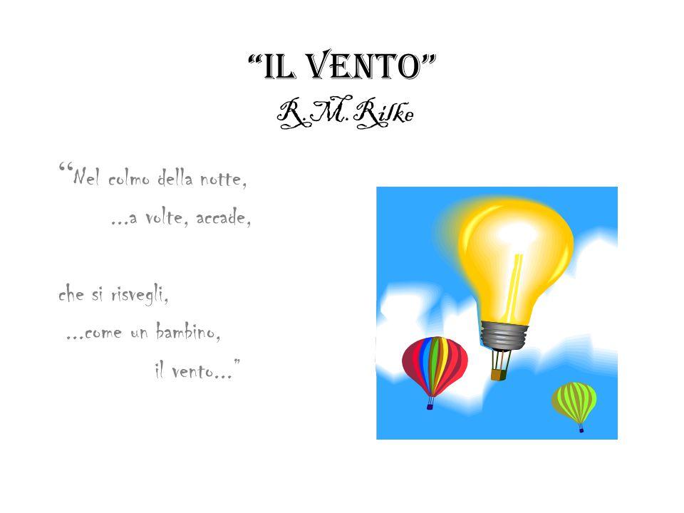 IL VENTO R.M.Rilke Nel colmo della notte,...a volte, accade, che si risvegli,...come un bambino, il vento...