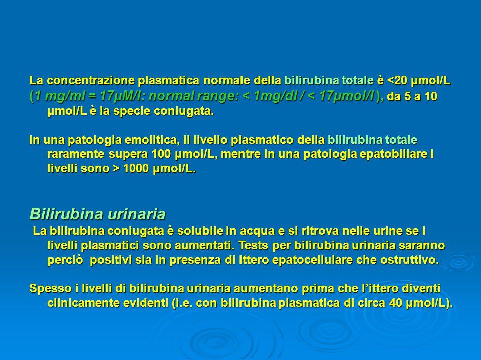 La concentrazione plasmatica normale della bilirubina totale è <20 μmol/L (1 mg/ml = 17μM/l: normal range: < 1mg/dl / < 17μmol/l ), da 5 a 10 μmol/L è