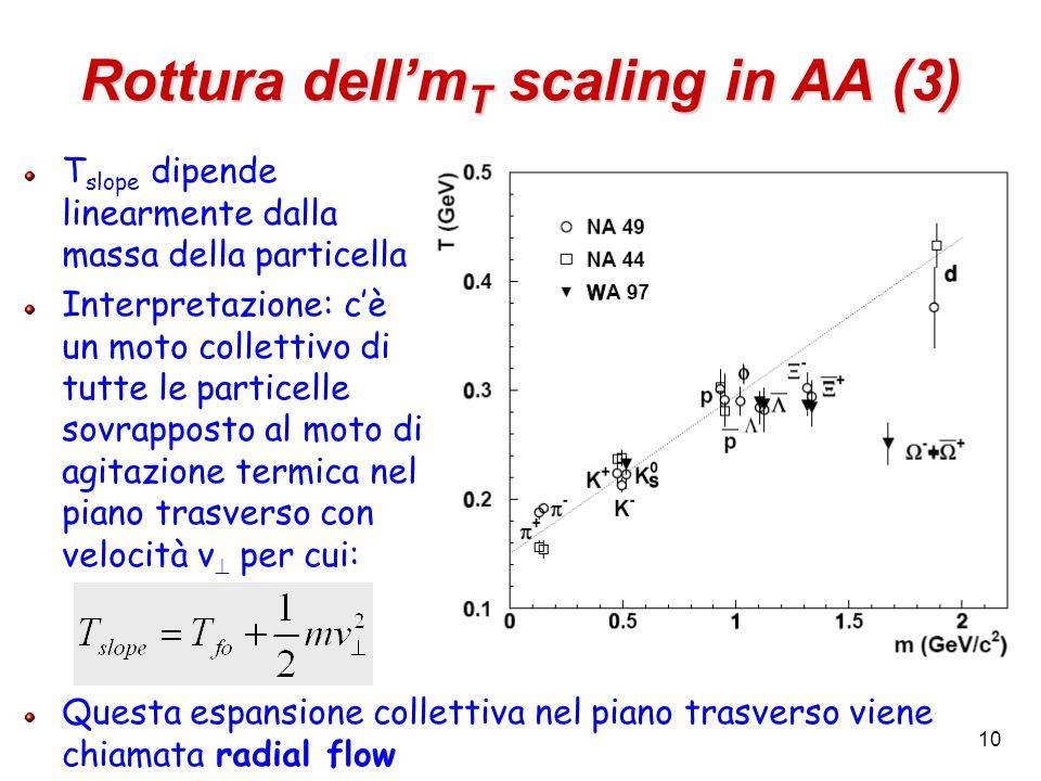 10 Rottura dell'm T scaling in AA (3) T slope dipende linearmente dalla massa della particella Interpretazione: c'è un moto collettivo di tutte le particelle sovrapposto al moto di agitazione termica nel piano trasverso con velocità v  per cui: Questa espansione collettiva nel piano trasverso viene chiamata radial flow