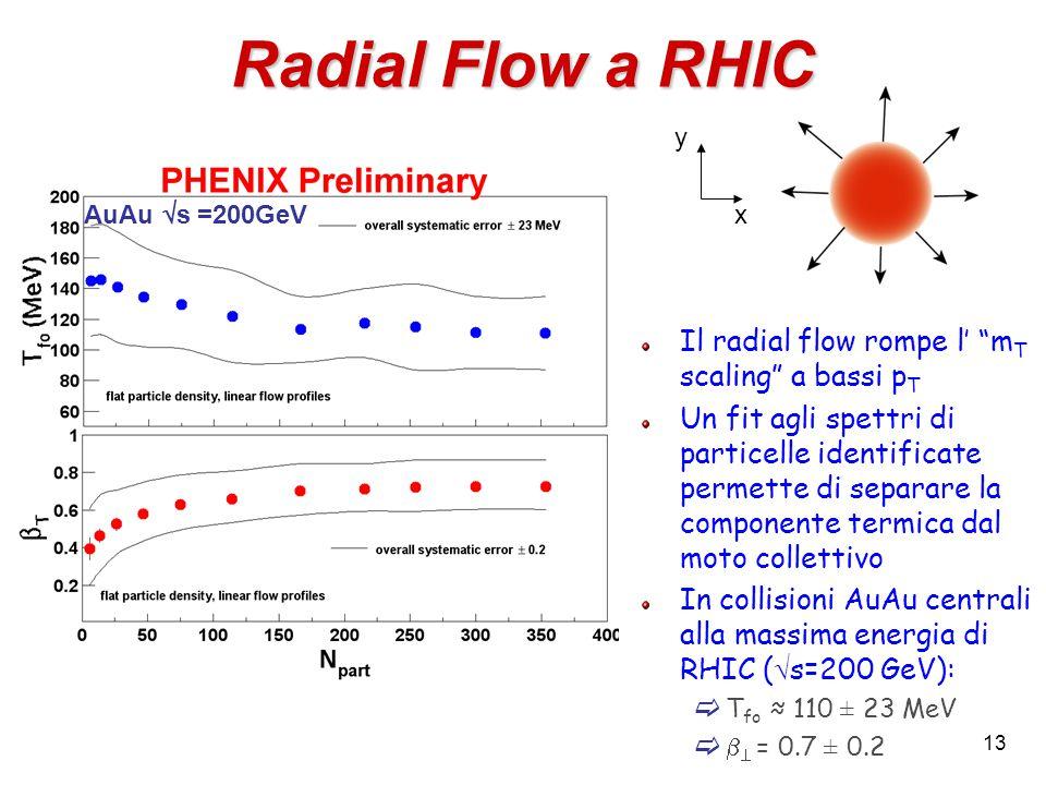 13 Radial Flow a RHIC Il radial flow rompe l' m T scaling a bassi p T Un fit agli spettri di particelle identificate permette di separare la componente termica dal moto collettivo In collisioni AuAu centrali alla massima energia di RHIC (  s=200 GeV):  T fo ≈ 110 ± 23 MeV    = 0.7 ± 0.2 x y AuAu  s =200GeV