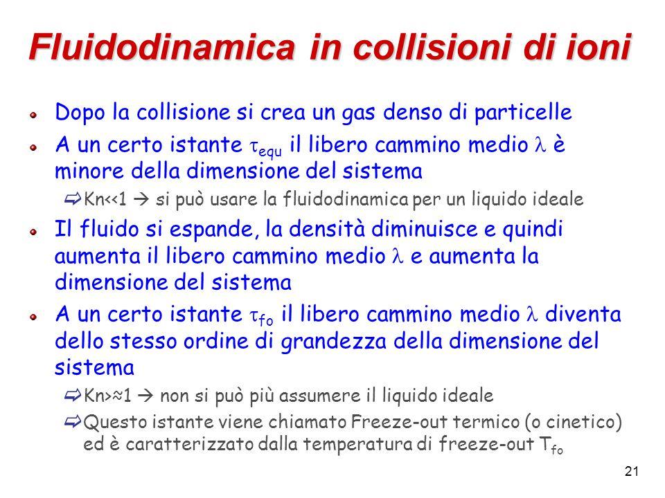 21 Fluidodinamica in collisioni di ioni Dopo la collisione si crea un gas denso di particelle A un certo istante  equ il libero cammino medio è minore della dimensione del sistema  Kn<<1  si può usare la fluidodinamica per un liquido ideale Il fluido si espande, la densità diminuisce e quindi aumenta il libero cammino medio e aumenta la dimensione del sistema A un certo istante  fo il libero cammino medio diventa dello stesso ordine di grandezza della dimensione del sistema  Kn>≈1  non si può più assumere il liquido ideale  Questo istante viene chiamato Freeze-out termico (o cinetico) ed è caratterizzato dalla temperatura di freeze-out T fo