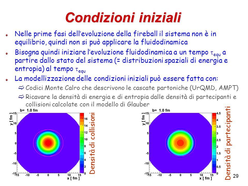 29 Condizioni iniziali Nelle prime fasi dell'evoluzione della fireball il sistema non è in equilibrio, quindi non si può applicare la fluidodinamica Bisogna quindi iniziare l'evoluzione fluidodinamica a un tempo  equ a partire dallo stato del sistema (= distribuzioni spaziali di energia e entropia) al tempo  equ La modellizzazione delle condizioni iniziali può essere fatta con:  Codici Monte Calro che descrivono le cascate partoniche (UrQMD, AMPT)  Ricavare la densità di energia e di entropia dalle densità di partecipanti e collisioni calcolate con il modello di Glauber Densità di collisioni Densità di partecipanti