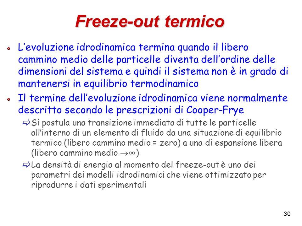 30 Freeze-out termico L'evoluzione idrodinamica termina quando il libero cammino medio delle particelle diventa dell'ordine delle dimensioni del sistema e quindi il sistema non è in grado di mantenersi in equilibrio termodinamico Il termine dell'evoluzione idrodinamica viene normalmente descritto secondo le prescrizioni di Cooper-Frye  Si postula una transizione immediata di tutte le particelle all'interno di un elemento di fluido da una situazione di equilibrio termico (libero cammino medio = zero) a una di espansione libera (libero cammino medio  ∞)  La densità di energia al momento del freeze-out è uno dei parametri dei modelli idrodinamici che viene ottimizzato per riprodurre i dati sperimentali