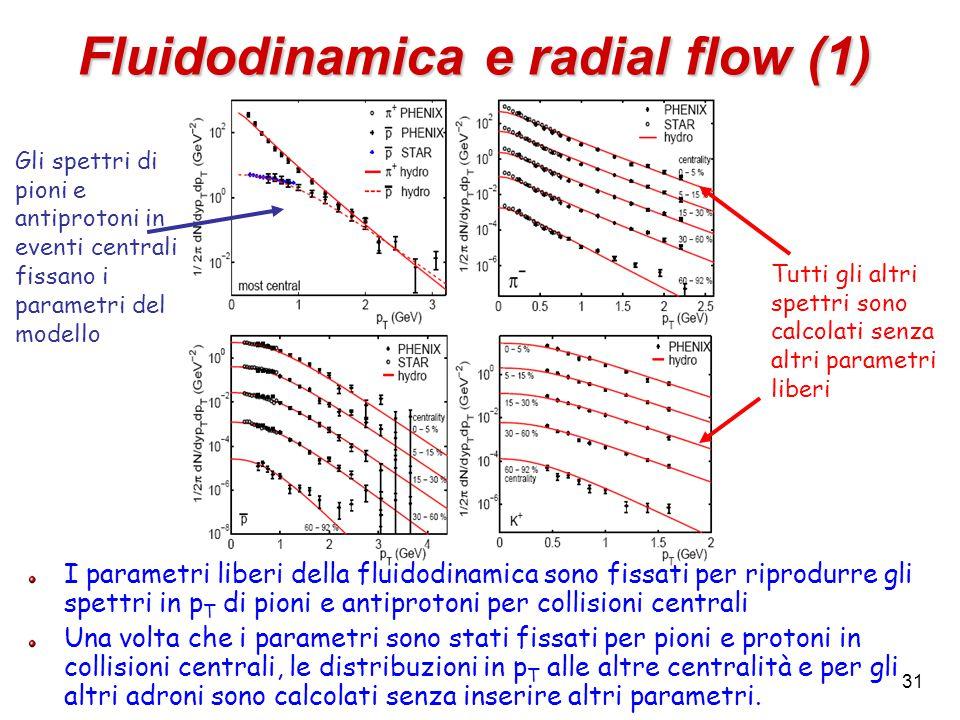 31 Fluidodinamica e radial flow (1) I parametri liberi della fluidodinamica sono fissati per riprodurre gli spettri in p T di pioni e antiprotoni per collisioni centrali Una volta che i parametri sono stati fissati per pioni e protoni in collisioni centrali, le distribuzioni in p T alle altre centralità e per gli altri adroni sono calcolati senza inserire altri parametri.