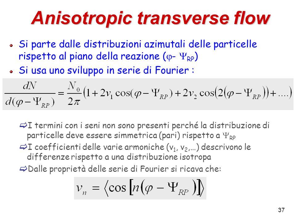 37 Anisotropic transverse flow Si parte dalle distribuzioni azimutali delle particelle rispetto al piano della reazione (  -  RP ) Si usa uno sviluppo in serie di Fourier :  I termini con i seni non sono presenti perché la distribuzione di particelle deve essere simmetrica (pari) rispetto a  RP  I coefficienti delle varie armoniche (v 1, v 2,…) descrivono le differenze rispetto a una distribuzione isotropa  Dalle proprietà delle serie di Fourier si ricava che: