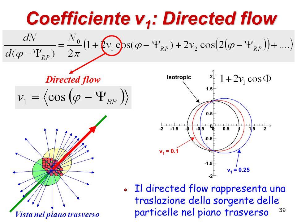 39 Coefficiente v 1 : Directed flow Directed flow Il directed flow rappresenta una traslazione della sorgente delle particelle nel piano trasverso Vista nel piano trasverso