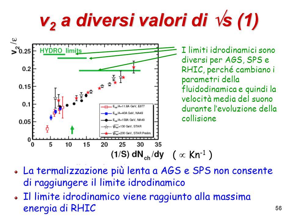 56 v 2 a diversi valori di  s (1) La termalizzazione più lenta a AGS e SPS non consente di raggiungere il limite idrodinamico Il limite idrodinamico viene raggiunto alla massima energia di RHIC I limiti idrodinamici sono diversi per AGS, SPS e RHIC, perché cambiano i parametri della fluidodinamica e quindi la velocità media del suono durante l'evoluzione della collisione (  Kn -1 )