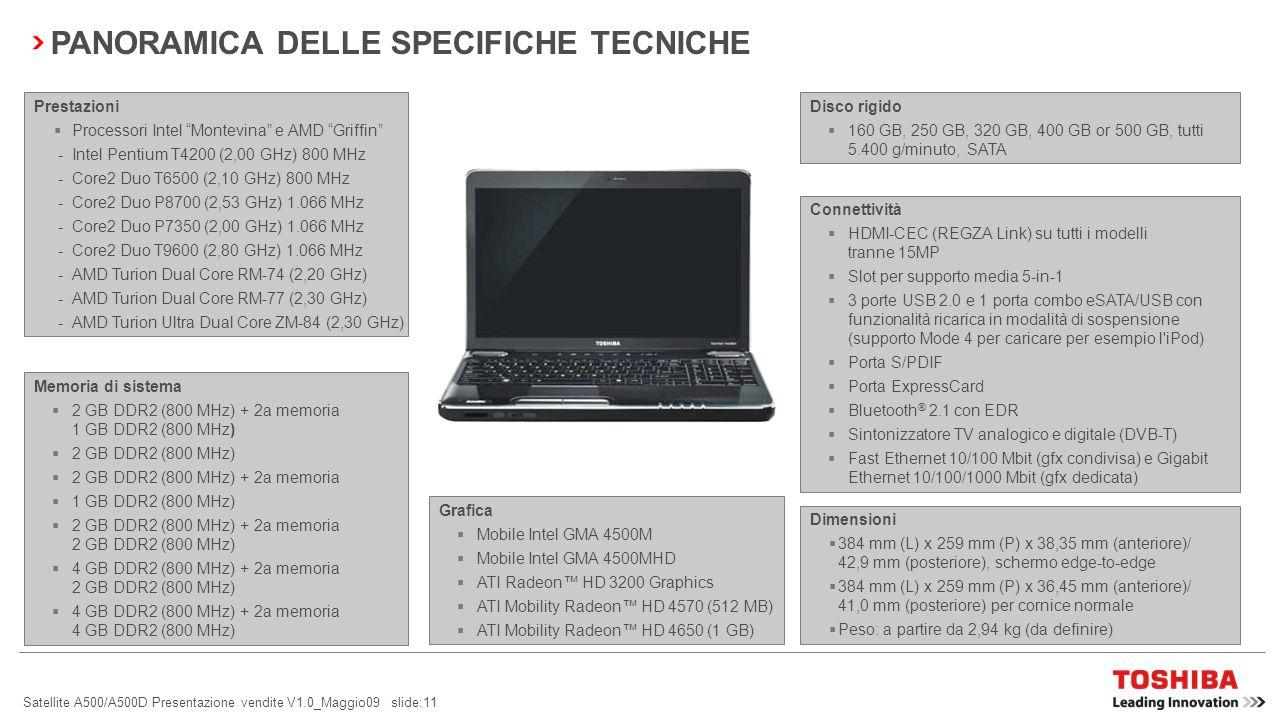 Satellite A500/A500D Presentazione vendite V1.0_Maggio09 slide:10 PRINCIPALI MIGLIORAMENTI RISPETTO AL SATELLITE A300/A300D E A350/A350D SpecificheSatellite A500/A500D Barra multimediale8 pulsanti ultrasensibili (avvio CD/DVD, ECO, riproduzione/pausa, indietro, avanti, LED acceso/spento, volume-, volume+), 1 pulsante meccanico (accensione/spegnimento Touch Pad) Interfacce1 porta USB combo eSATA/USB con funzionalità ricarica in modalità di sospensione e supporto Mode 4 per caricare per esempio l iPod TastieraTastiera piatta con finitura nera opaca, tastierino numerico e su alcuni modelli illuminazione Touch PadTouch Pad con controllo Multi-Touch Sintonizzatore TVSintonizzatore TV analogico e digitale (DVB-T) Telecomando (telecomando Vista per EUR + CIR e telecomando Express Card + CIR) Funzioni per il rispetto dell ambiente pulsante Eco Utility per il risparmio energetico Energy Star 5.0 Monitoraggio della salute del PC Toshiba