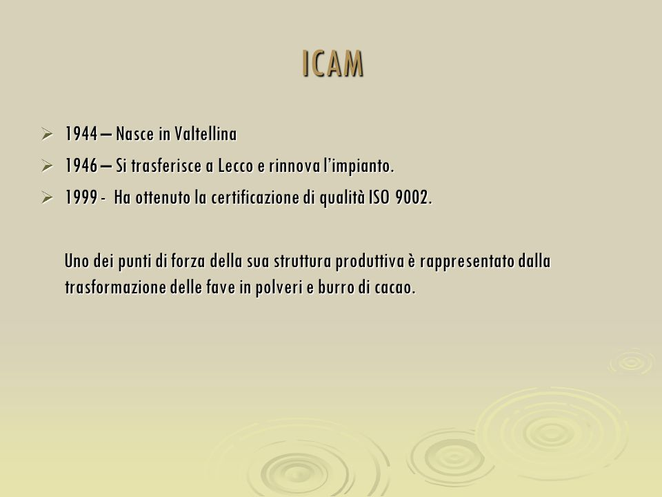 ICAM  1944 – Nasce in Valtellina  1946 – Si trasferisce a Lecco e rinnova l'impianto.  1999 - Ha ottenuto la certificazione di qualità ISO 9002. Un