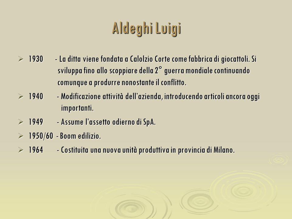 Aldeghi Luigi  1930 - La ditta viene fondata a Calolzio Corte come fabbrica di giocattoli. Si sviluppa fino allo scoppiare della 2° guerra mondiale c