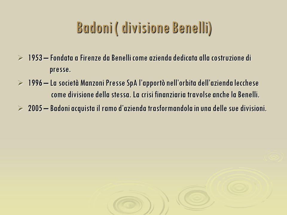 Badoni ( divisione Benelli)  1953 – Fondata a Firenze da Benelli come azienda dedicata alla costruzione di presse.  1996 – La società Manzoni Presse