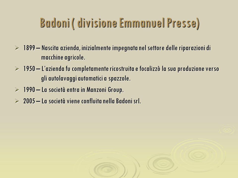 Badoni ( divisione Emmanuel Presse)  1899 – Nascita azienda, inizialmente impegnata nel settore delle riparazioni di macchine agricole.  1950 – L'az