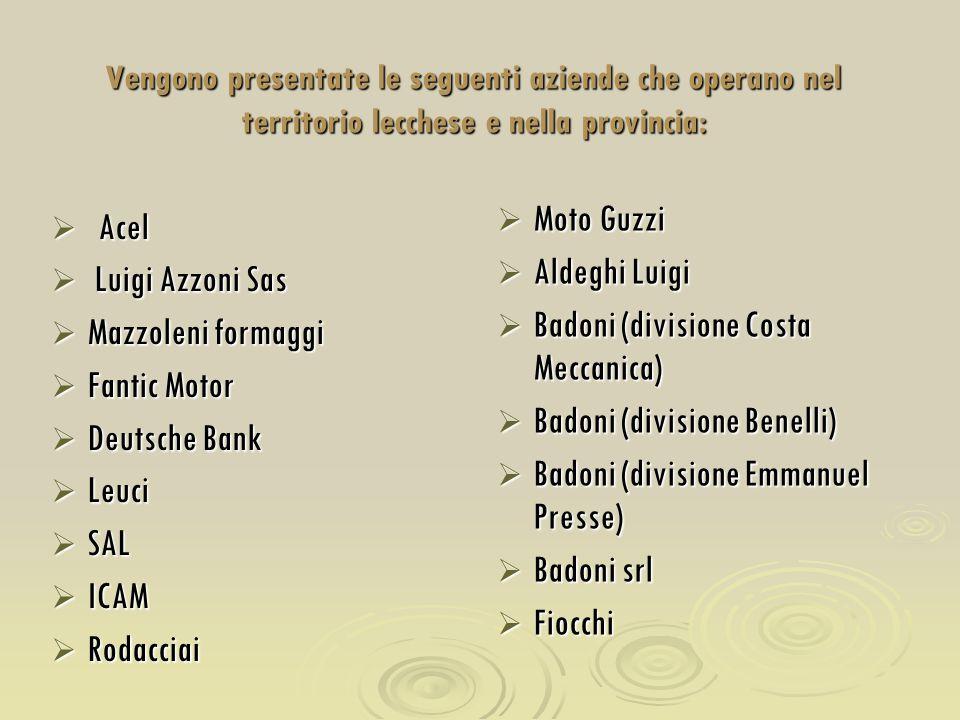 Vengono presentate le seguenti aziende che operano nel territorio lecchese e nella provincia:  Acel  Luigi Azzoni Sas  Mazzoleni formaggi  Fantic