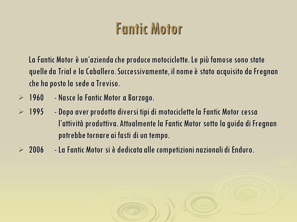 Fantic Motor La Fantic Motor è un'azienda che produce motociclette. Le più famose sono state quelle da Trial e la Caballero. Successivamente, il nome